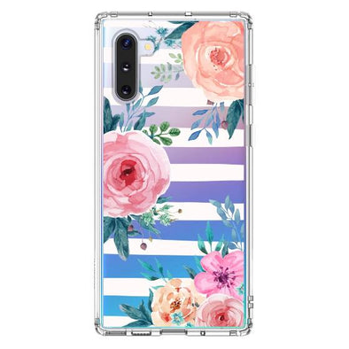 Girls Blossom Stripes Floral Flower Phone Case - Samsung Galaxy Note 10 Case
