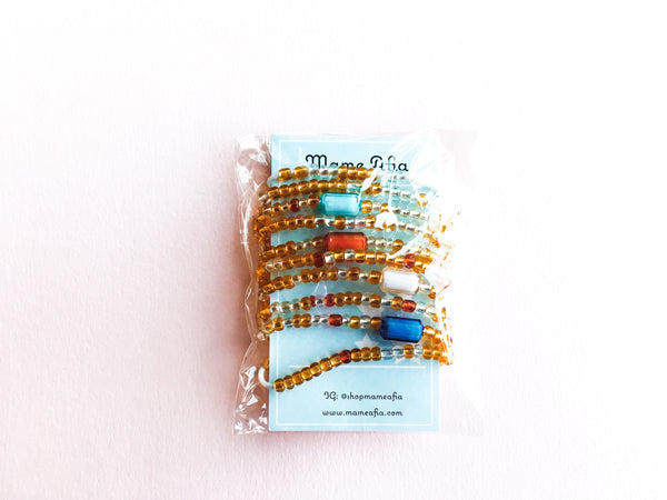 Gold/Red/Silver Multi Colored African Waist Beads
