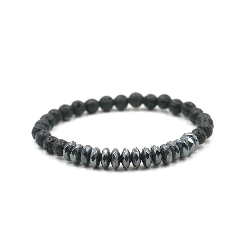 ANIILO 2PCS/Set  Natural Lave Gallstone 6 mm Stone Black Gold Copper Beads Bracelet For Women Men Couple Bangles Jewelry
