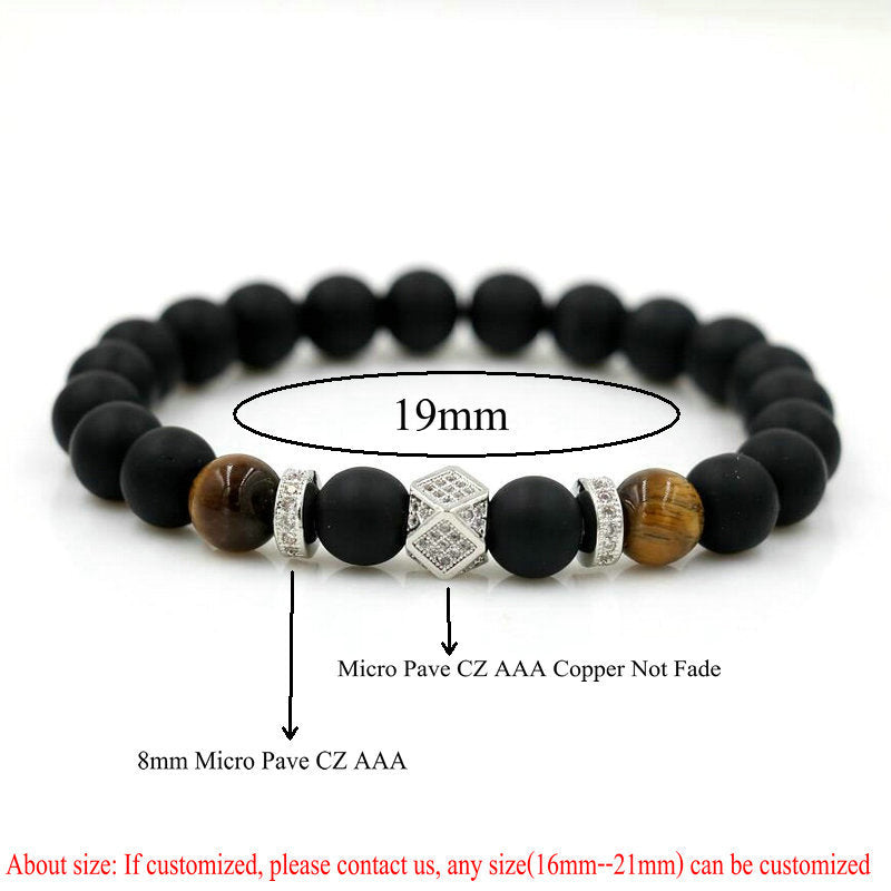 ANILLLO Men Matte Natural Stone Beads 8 Mm Gold Color Copper Micro Pave CZ Polygon Beaded Bracelets Casual/Sporty Women Jewelry