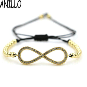ANILLO Men Women Infinity 8 Charm Bracelet Gold Color Micro Pave CZ 4mm Copper Beads Braiding Macrame Adjustable Jewelry