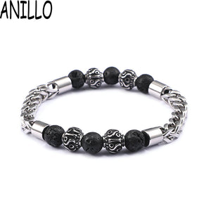 ANILLO Men's Bracelet Vintage Top Quality Stainless Steel Natural Lave Stone Combined Charm jewelry