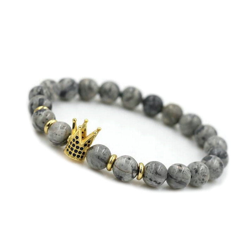ANILLO Micro Pave Men CZ Crown Copper Beaded Bracelet  Natural Gray Stone 8 Mm Beads Chain Charm For Women Jewelry