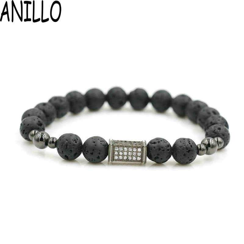 ANILLO Micro Pave Men CZ Rectangles Bracelet Natural Lave Stone 8 Mm Charm Copper Beaded For Women Jewelry