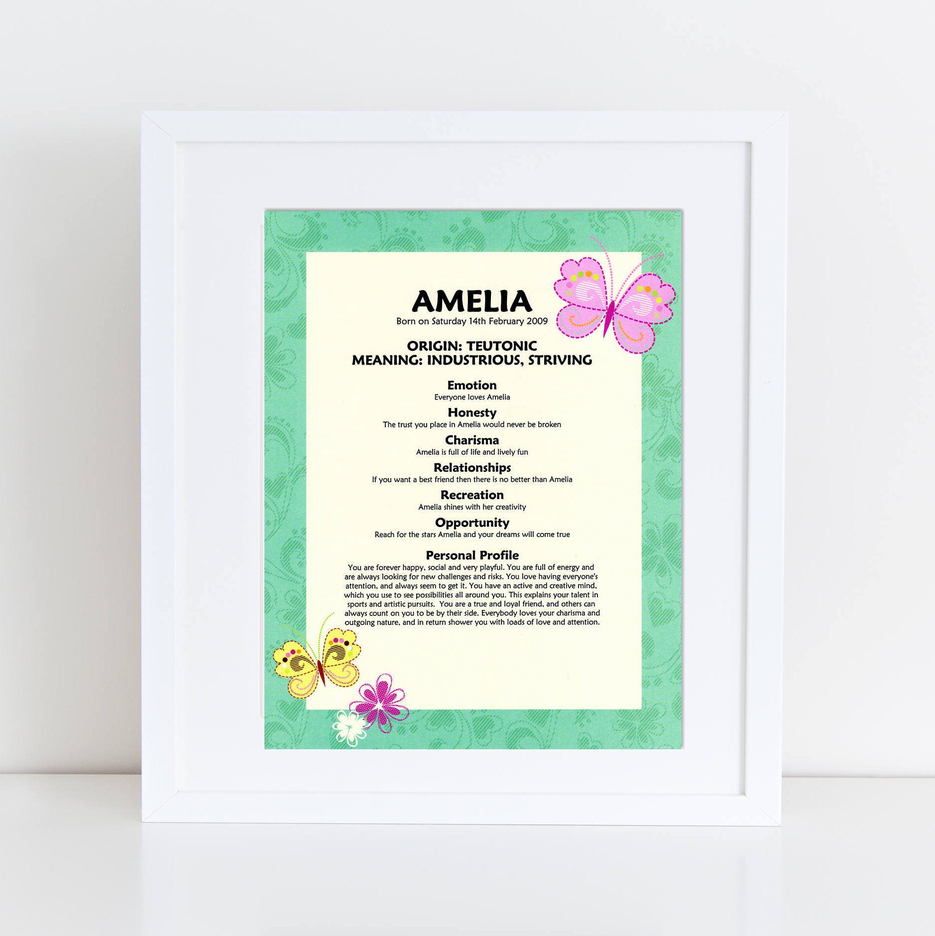 Personalised name meaning origin print gifts for baby make it green border butterfly name meaning origin print negle Images