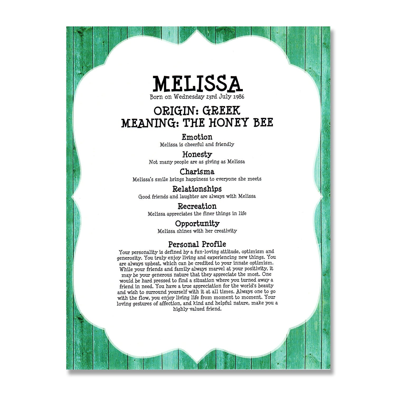 The origin of the name is Melissa. Name Melissa: meaning 80