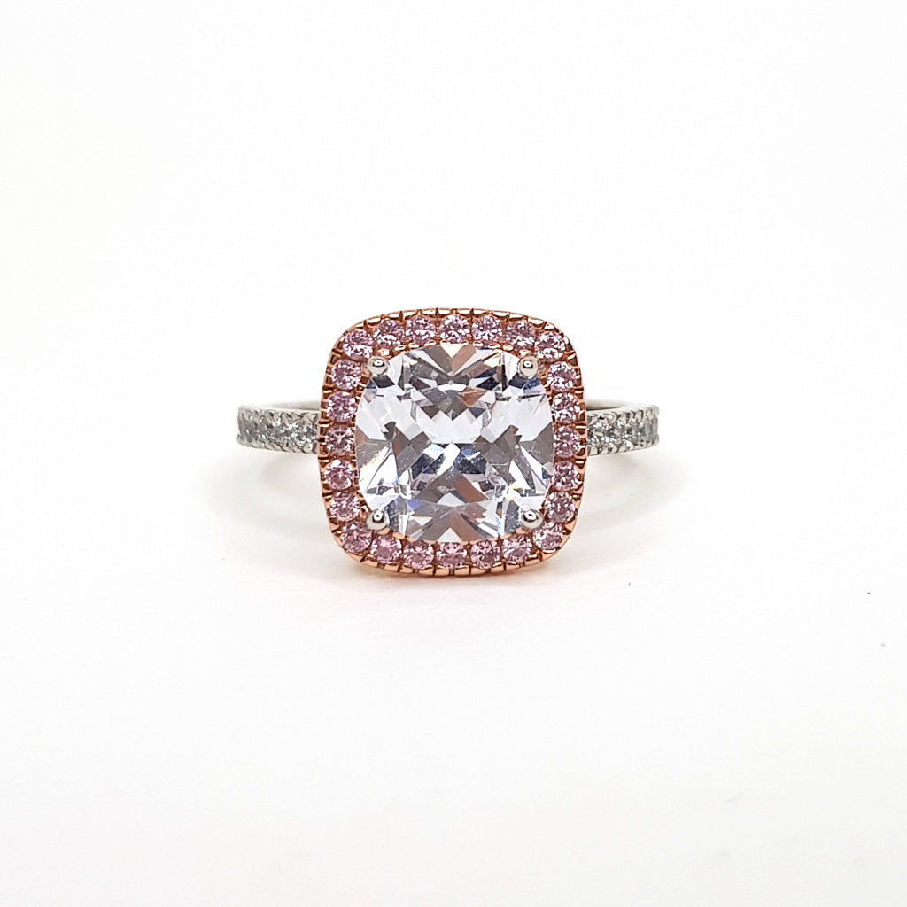 6f8b493bb FAVE Jewelry Co Cushion Cut Cubic Zirconia, set with a pink halo in Rose  Gold