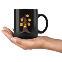 Halloween Pumpkin Tree Black Coffee Mug, Gifts for Candy Treat Scary Trick