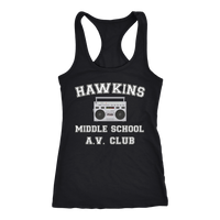 Stranger Hawkins Middle School Racerback Tank Top for Women Things A V Club