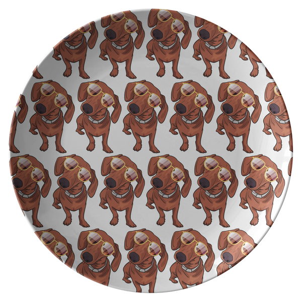 Dachshund wth Sunglasses Funny Dinner Plate, Gifts for Dog Puppy Lovers