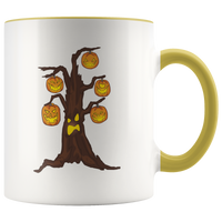 Halloween Pumpkin Tree Accent Coffee Mug, Gifts for Candy Treat Scary Trick