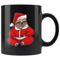 Santa Sloth Black Coffee Mug, Christmas Gifts for Sloth Lovers