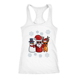 Snowman Santa Reindeer Racerback Tank Women, Christmas Gifts for Snow Lovers