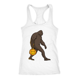 Halloween Bigfoot Sasquatch Pumpkin Racerback Tank Women, Gifts for Costume Party