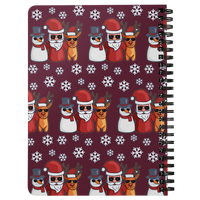 Santa Snowman Reindeer Journal Diary Spiralbound Notebook, Christmas Gifts for Snow Lovers