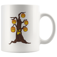 Halloween Pumpkin Tree White Coffee Mug 11oz, Gifts for Candy Treat Scary Trick