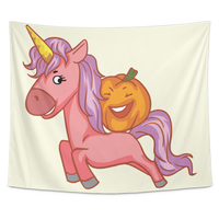 Halloween Unicorn Pumpkin Wall Hanging Tapestry, Gifts for Trick Treat Party