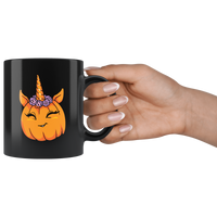 Unicorn Pumpkin Halloween Black Coffee Mug, Gifts for Trick Treat Costume Party