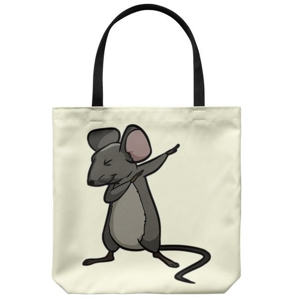 Dabbing Mouse Rat Tote Reusable Grocery Bag, Gifts for Rodent Lovers