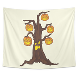 Halloween Pumpkin Tree Wall Hanging Tapestry, Gifts for Candy Treat Scary Trick