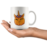 Unicorn Pumpkin Halloween White Coffee Mug 11oz, Gifts for Trick Treat Costume Party