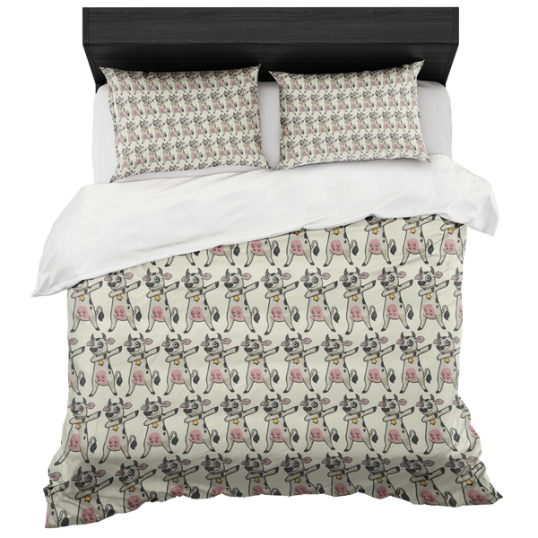 Dabbing Cow Duvet Cover Pillow Shams, Gifts for Farmers Farm Animal Lovers