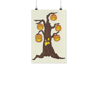 Halloween Pumpkin Tree Wall Poster, Gifts for Candy Treat Scary Trick