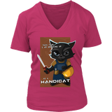 "Funny Cool ""Handicat"" Halloween Cat VNeck Shirts for Women"