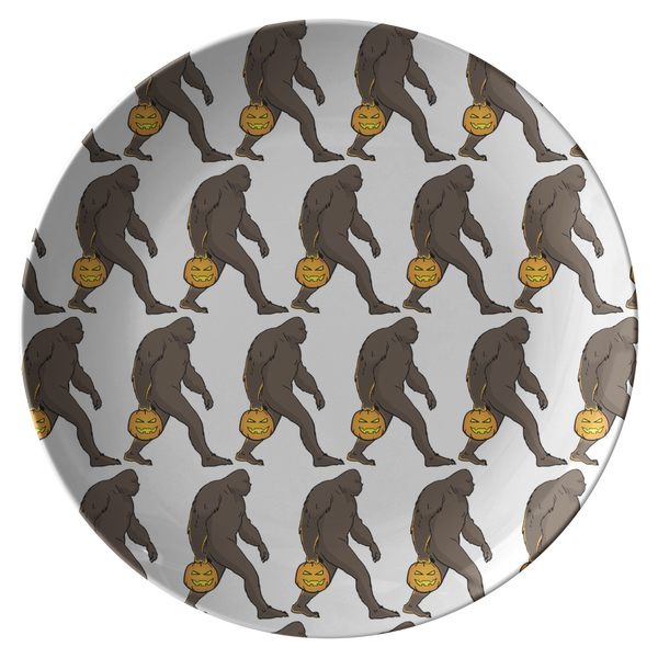 Halloween Bigfoot Sasquatch Pumpkin Dinner Plate, Gifts for Costume Party