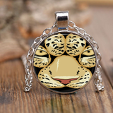 White Tiger Paw Face Charm Pendant Necklace for Women Men Kids