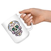 Skull White Coffee Mug 15oz, Sugar Gifts for Day of the Dead