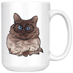 Balinese Cat White Coffee Mug 15oz, Cat Lover Gifts 9186A