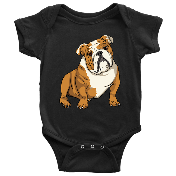 Bulldog Baby Romper Bodysuit, Funny Gift for Cute Dog Lovers