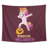 Dabbing Halloween Unicorn Wall Hanging Tapestry, Gifts for Pumpkin Candy Treat Scary Trick