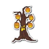 Halloween Pumpkin Tree Sticker for Car Bumper, Gifts for Candy Treat Scary Trick