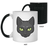 Black Cat Face Magic Color Changing Coffee Mugs, Gifts for Cat Lovers