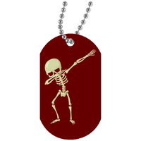 Halloween Skeleton Dabbing Dog Tag, Gifts for Trick Treat Skull Party