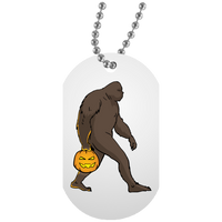 Halloween Bigfoot Sasquatch Pumpkin Dog Tag, Gifts for Costume Party