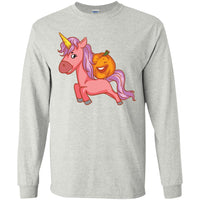 Halloween Unicorn Pumpkin Long Sleeve Shirt, Gifts for Trick Treat Party