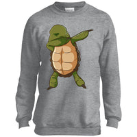 Turtle Shirt Funny Dabbing Dab Dance Tortoise Crewneck Sweatshirt for Men Women Boys Girls Kids Youth