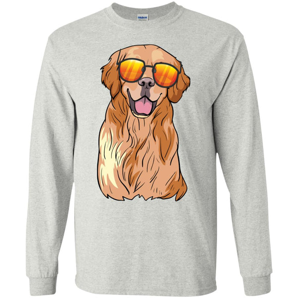 Golden Retriever Dog Long Sleeve T-Shirt Boys Girls Men Women Kids Youth