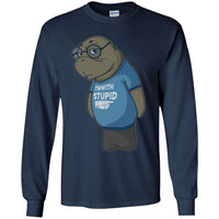 Manatee Im With Stupid Commercial Long Sleeve T Shirt for Men Women Boys Girls