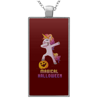 Dabbing Halloween Unicorn Pendant Necklace, Gifts for Pumpkin Candy Treat Scary Trick