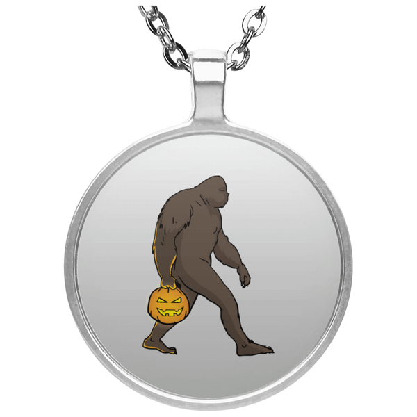 Halloween Bigfoot Sasquatch Pumpkin Pendant Necklace, Gifts for Costume Party