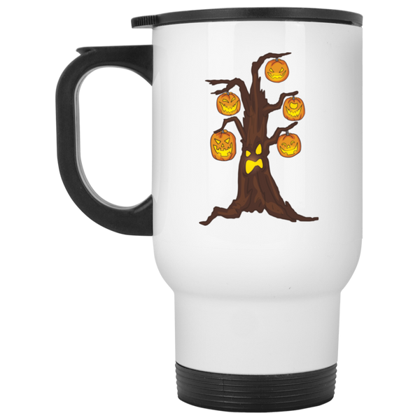 Halloween Pumpkin Tree Travel Coffee Mug, Gifts for Candy Treat Scary Trick