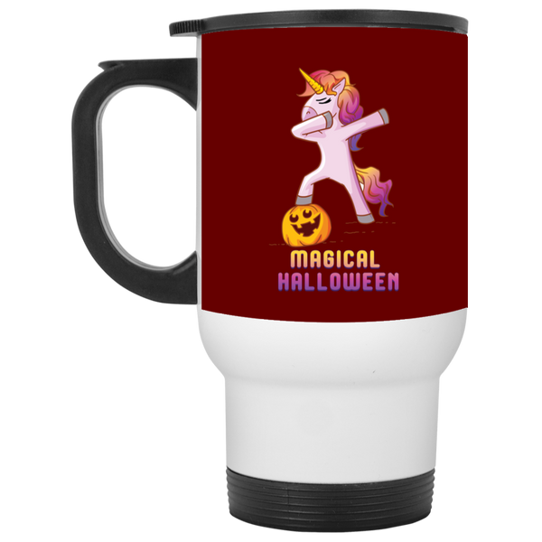 Dabbing Halloween Unicorn Travel Coffee Mug, Gifts for Pumpkin Candy Treat Scary Trick
