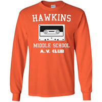 Hawkins Middle School Cassette Unisex Long Sleeve T Shirt for Men Women Kids Boys Girls Youth