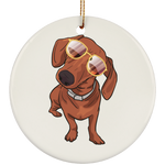 Dachshund wth Sunglasses Funny Christmas Tree Ornaments, Gifts for Dog Puppy Lovers
