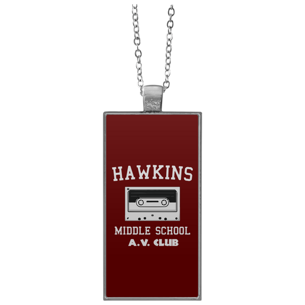 Hawkins Middle School Round Square Rectangle Pendant Necklace