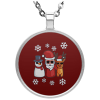 Santa Snowman Reindeer Pendant Necklace, Christmas Gifts for Snow Lovers